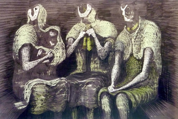 Henry-Moore-Shelter-drawings-Three-Fates-1941