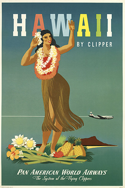 Idesirevintageposters Transportation Hawaii By Clipper Pan American World Airways 1948